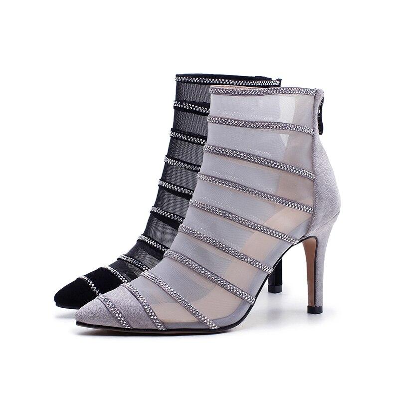 Malla Tobillo Talones Femeninos Zapatos Estrecha Punta 2018 Cremallera Stiletto Sexy Botas Suede Calzado Partido Isnom gris De Mujeres Moda Verano Negro xnIPqqwU