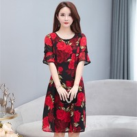 2019 women's chiffon dress women's cheongsam long style mom dress