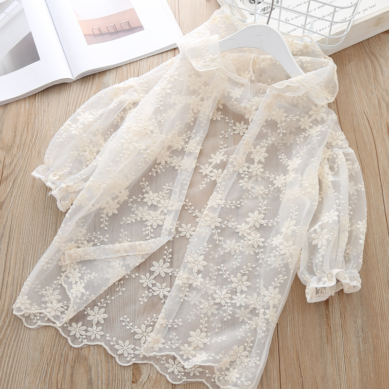 f4453895d69c Girls Lace Sunscreen Summer Mosquito Sun Protection Shirts For Girl Child  Blouse Cardigan Thin Hoodie Outerwear