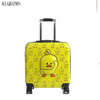 KLQDZMS 20inch Kids Yellow Duck Suitcase Bag,Children's Cartoon Rolling Luggage travel suitcaseTrolley Case On Wheels