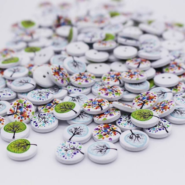 100pcs New Tree Design 2 Holes Wooden Buttons Sewing Buttons Craft Scrapbooking Clothing Accessories