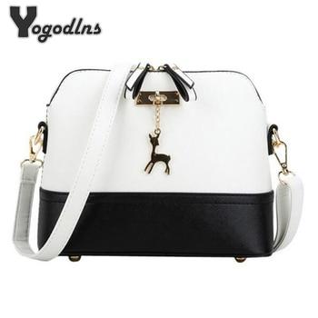 Women shoulder bags messenger bag leather small shell bag famous brand crossbody bag Deer Spliced Collision color