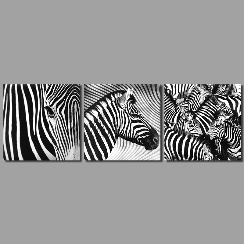 Moderne De Mode Noir Et Blanc Zebre Decoration Wall Art Image