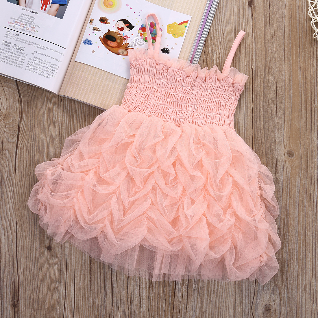 1d8d62e2f23 2017 Fashion Baby Girls Dresses Princess Pink Sundress For Party Ruffle  Bubble Tutu Dress Children Girl Clothing 1 6Y-in Dresses from Mother   Kids  on ...