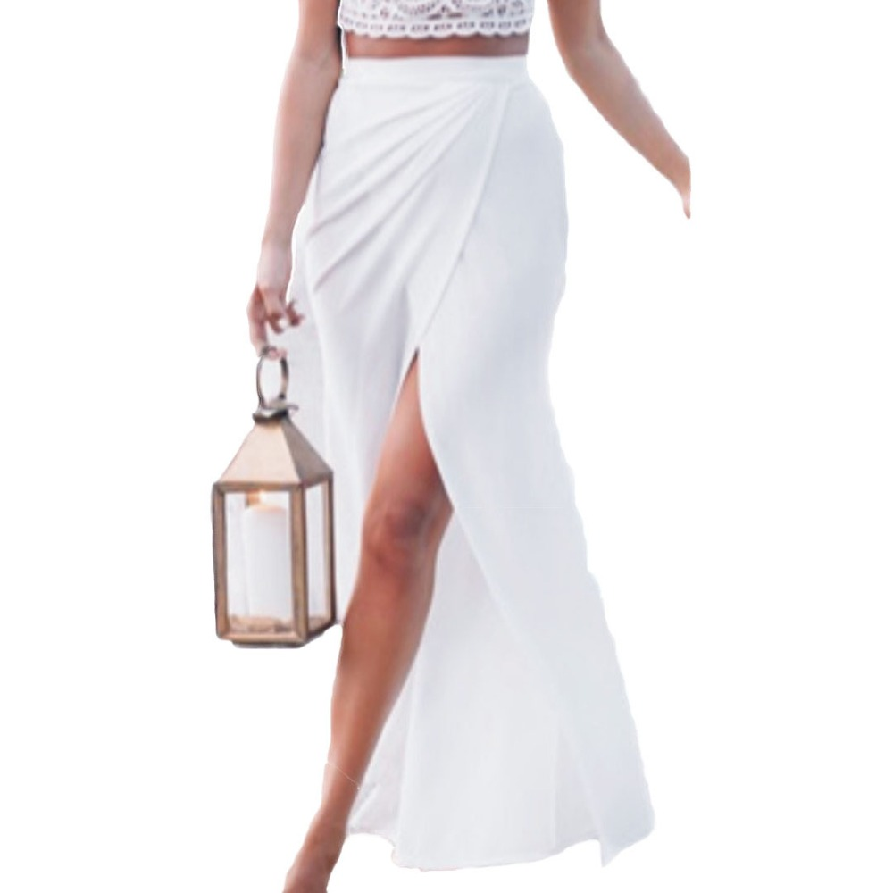 long white maxi skirt with split | Gommap Blog