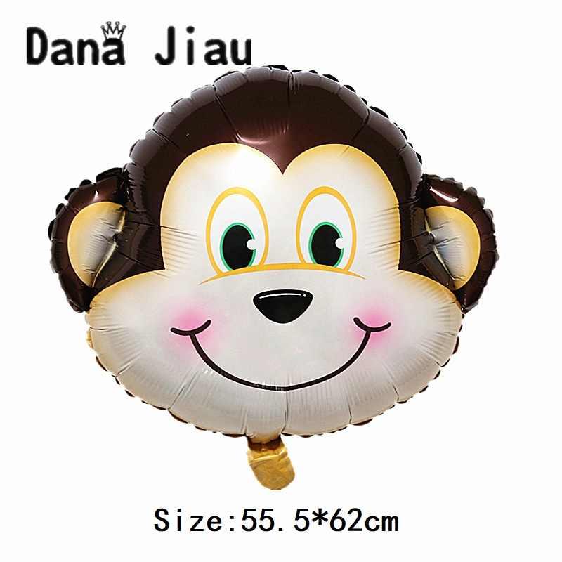 Juguete de alta calidad para niños, decoración de fiesta de cumpleaños, temas de zoológico, Tigre, León, cebra, jirafa, vaca, suministros, mono, Animal, globo de gas helio