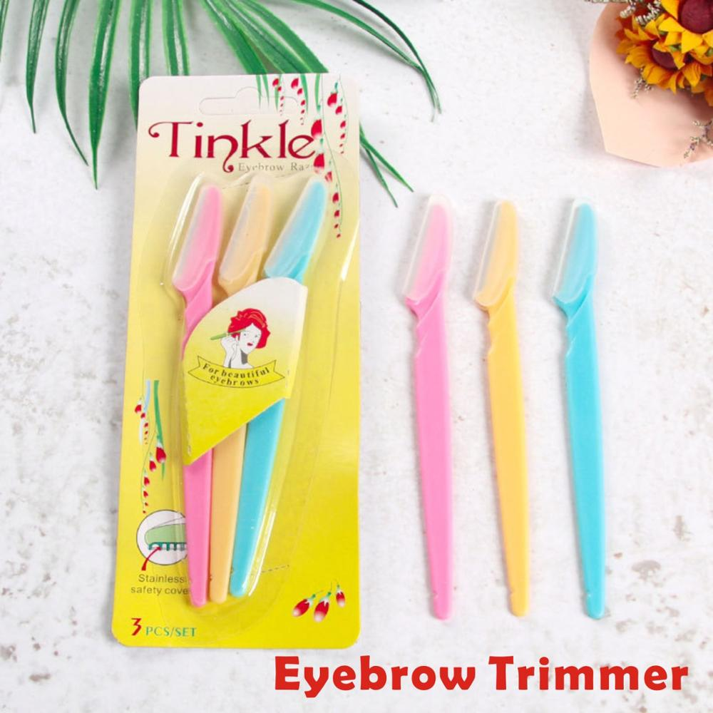 3pcs Women Facial Face Colorful Eyebrow Trimmer Face Hair Razors Women Eyebrow Shaver Hair Removal Makeup Tools