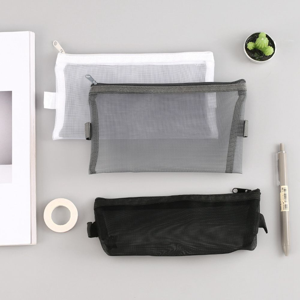 1Pc Korean Transparent Grid Zipper Cosmetic 3 Colors Fashion Cosmetic Storage Package For Grils Cosmetic Bag Coin Bag