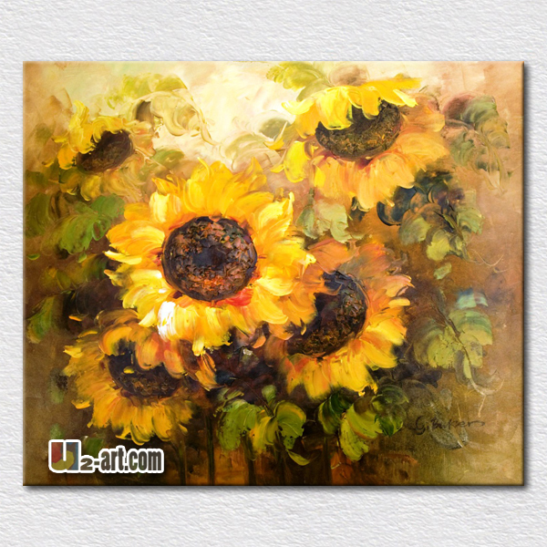 Beautiful sunflowers oil painting hot sell modern canvas pictures ...