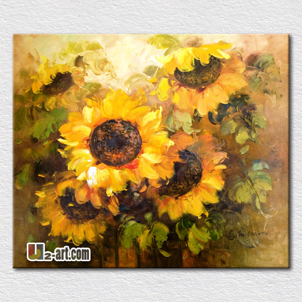Beautiful sunflowers oil painting hot sell modern canvas pictures for bedroom decoration wall hangings