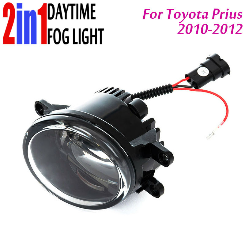 New Led Fog Light with DRL Daytime Running Lights with Lens Fog Lamps Car Styling Led Refit Original Fog for Toyota Prius