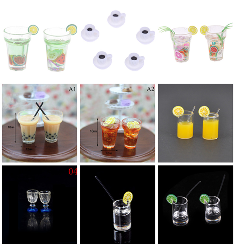 New 1:12 Scale Mini Dollhouse Mini Lemon Milk Tea Water Cup Miniature Dollhouse Accessories Cups Toy Decoration Gifts