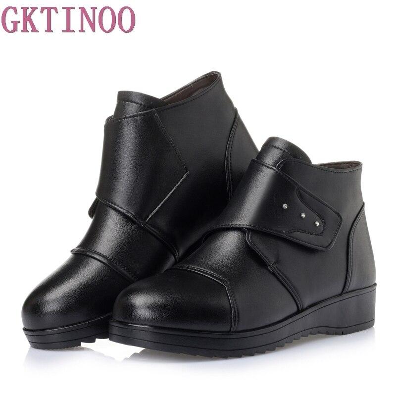 Femmes Bottes En Femelle Véritable Chaude Cheville Mujer Dames 43 Neige Chaussures Noir Botas D'hiver Femme Zip De Fourrure Taille Cuir 35 gY7b6yfv