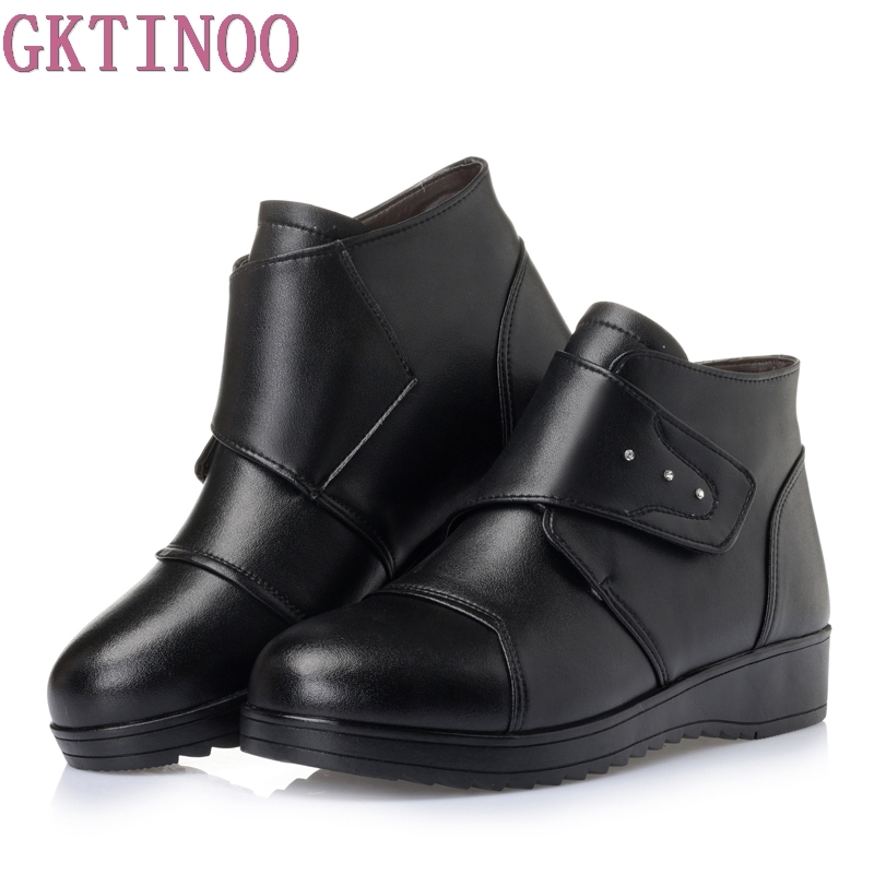 Women Winter Boots Female Zip Ankle Boots Warm Snow Boots Ladies Genuine Leather Shoes Woman Fur Botas Mujer Size 35-43