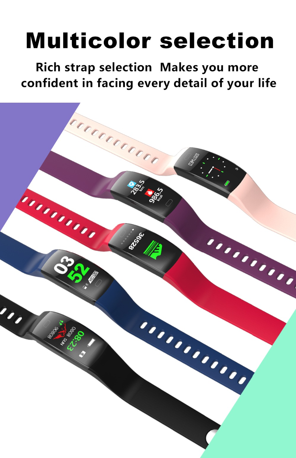 Torntisc F64HR Heart rate smart bracelet IP68 Waterproof Color screen Blood pressure oxygen Fitness tracker Smart band GPS watch (13)