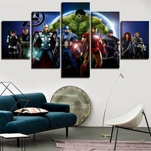 Movie Poster 5 Pieces The Avengers Heroes Picture Modern High Quality Canvas Printed Painting Home Decor Wall Art Framework
