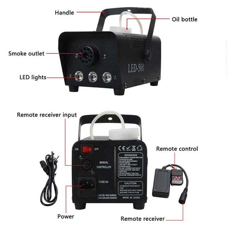Livraison rapide disco coloré machine à fumée mini LED à distance brumisateur éjecteur dj fête de noël scène lumière brouillard machine - 2