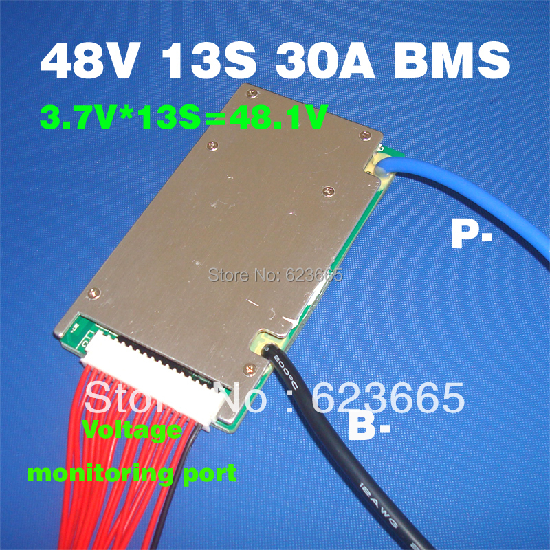 48V BMS 13S BMS used for 48v 10ah 20ah 30ah 40ah 50ah li-ion battery pack 3.7v cell 13s PCM / PCB / BMS With balance function hot sale battery bms protection pcb board for 3 4 pack 18650 li ion lithium battery cell for rc parts