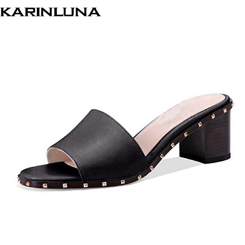 Mode Karinluna D'été Talons Noir Taille Chaussures Marque Mules 43 c3TKl1JF