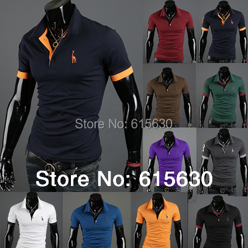 Drop Shipping Mens slim fit casual short sleeve polo shirts stylish brand turn collor dress M-XXL X-217 - working for best store