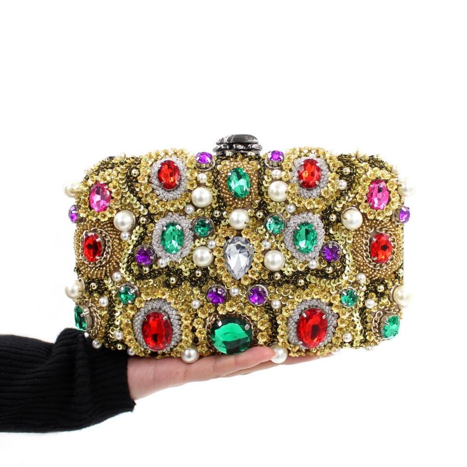 ФОТО Luxury Crystal Party Bags Women Wedding Bag Diamond Clutches Evening Purse Vintage Beaded Handbags Colourful Day Clutch