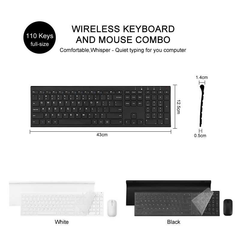 B.O.W 超薄型金属ワイヤレススリムキーボード & マウスコンボ、人間工学デザイン & フルサイズ充電式キーボード