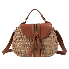 New style of straw-woven lady's bag