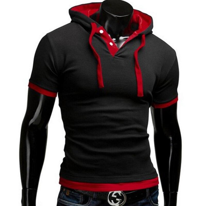 T Shirt Men Brand 2016 Fashion Men'S Hooded Collar Sling T Shirt Men Short Sleeve Slim Male Tops Large Size 4XL QSP