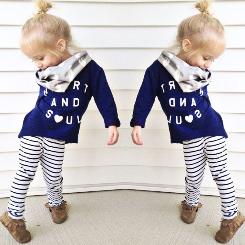 2015 Girls clothes Baby Girl Clothing Set Children Fashion Suit 2PCS Kids Letter Print Top T Shirt +Striped Pants Leggings