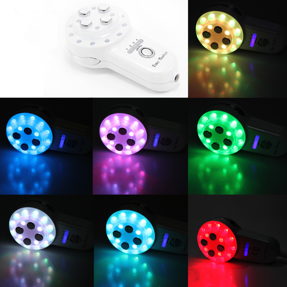 TOP BEAUTY 7 Colors LED Photo-rejuvenation Time Master Mini Radio Frequency RF 4-1 Electroporation Led Microcurrent Massager kingdom kd 9900 ems rf electroporation beauty device