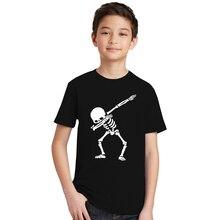 Hip Hop Dabbing esqueleto niños camiseta Punk negro camisas niños niñas  divertido cráneo adolescentes Camisetas Niño edbbfe117eca2