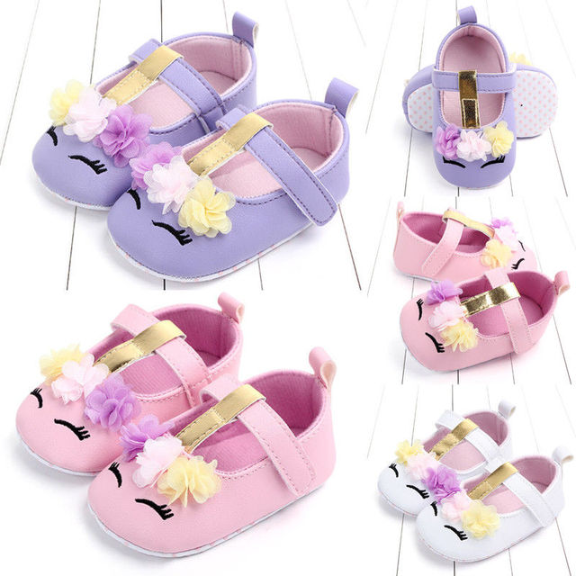 2019 New Toddler Baby Girls Boys Flower Unicorn Shoes PU Leather Shoes Soft Sole Crib Shoes Spring Autumn 0-18M