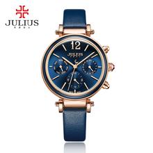 Julius marka kreatywny zegarki kobiety moda Chronos zegarek kwarcowy Retro w stylu Vintage Montre Femme Auto dzień data kobieta zegar JA-958 tanie tanio Kompletna kalendarz Auto data Odporny na wstrząsy Wyświetlacz tydzień Odporne na wodę Chronograph QUARTZ 34 0mm Julius Brand Watch JA-958