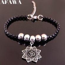 2021 mode Yoga lotus en acier inoxydable Bracelet à breloques femmes couleur noire Bracelets bijoux joyeria acero inoxydable mujer B18468