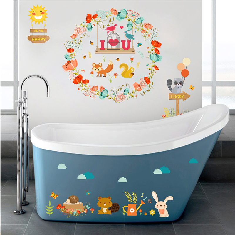 Jungle Wild Forest Animals Wall Stickers For Kid Room Children Squirrel Rabbit Floral Decal  Bathroom Decor DIY home decor