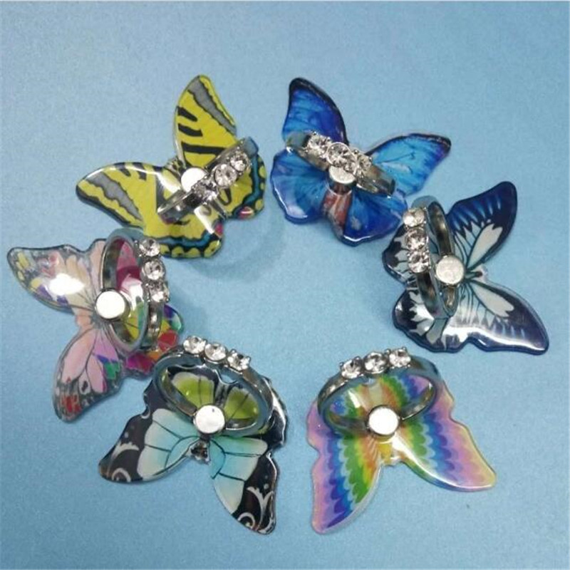 Cartoon Butterfly Metal Ring Phone Holder Car Mount Stand Finger Ring Smartphone Holder Mobile Phone Holder For All Phone