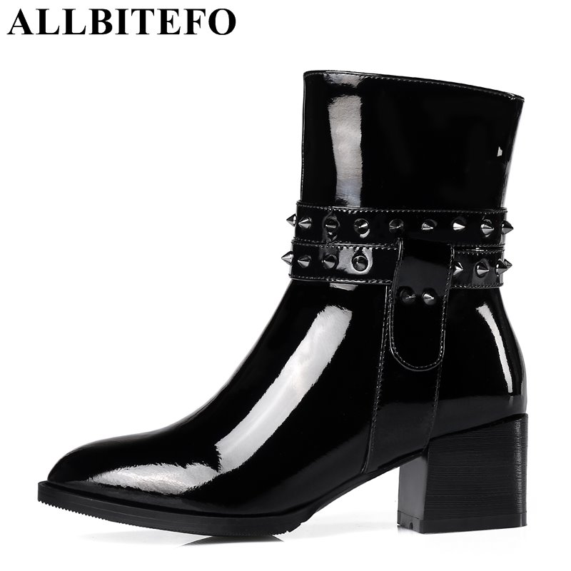 ALLBITEFO thick heel Patent leather brand rivets women boots medium heel high quality ankle boots martin boots plus size:33-43 цены онлайн