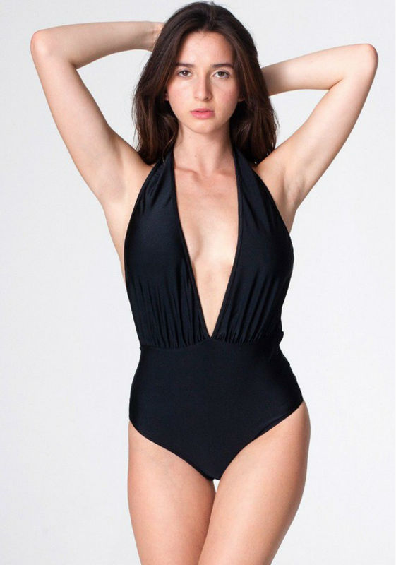 c499cae42c Low deep V neck Tricot Halter One Piece Chic Swimwear Monokini Swimsuit XS  S M L on Aliexpress.com