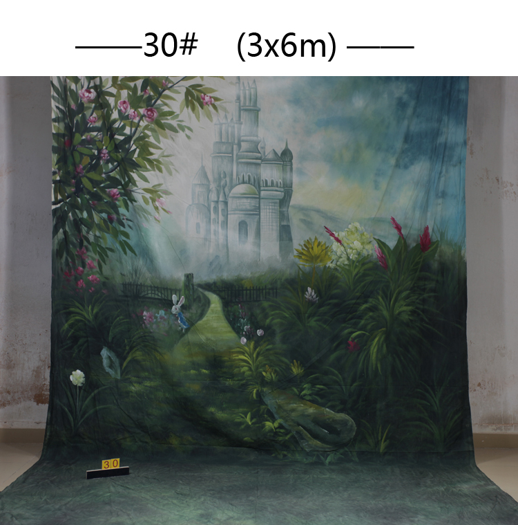 Custom 3x6M Hand Painted natural scenic Backdrop background,castle muslin photography backdrops for Family Photos,adult,kids 30 купить