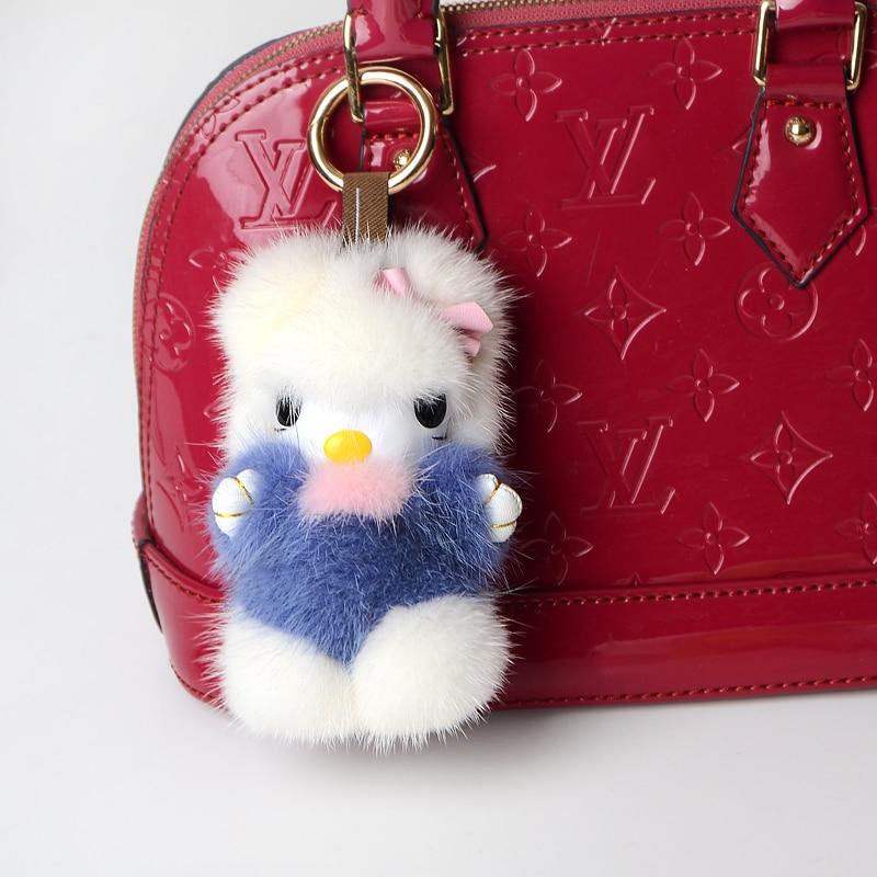 JKP2018 Bagages accessoires pendentif véritable vison fourrure de chat porte-clés accessoires moelleux bijou jouets faits à la main Exquis cadeau XP-02