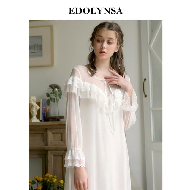 ebea7fc1f6 Sexy Nightgown Women Sleepwear Silk Lingerie Babydoll Woman Sleep Wear Night  Dress Home Clothes Ruffled Nightwear homedress H812