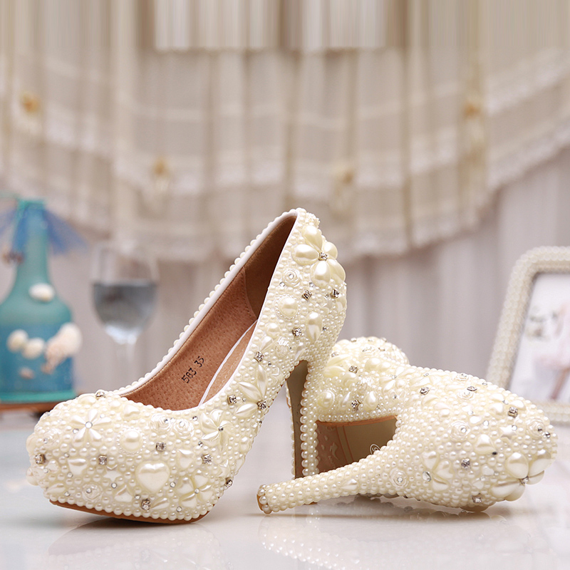 Special Design Ivory Wedding Shoes 4 3 4 Inches Ladies Shoes Women ... c206124c6b03