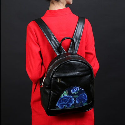 Retro Embroidery Women spring Backpacks Small Fashion Genuine Leather Women Shoulder Bag Pattern Small Backpack Girls Bags black fashion pu geniune leather shoulder bag women backpacks crocodile pattern small backpack embossed school bags for girls