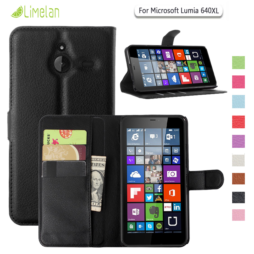 Limelan For Microsoft Lumia 640/640XL Case, Luxury Litchi Wallet PU Leather Phone Case For Nokia Lumia 640 640 XL Cover Capa image
