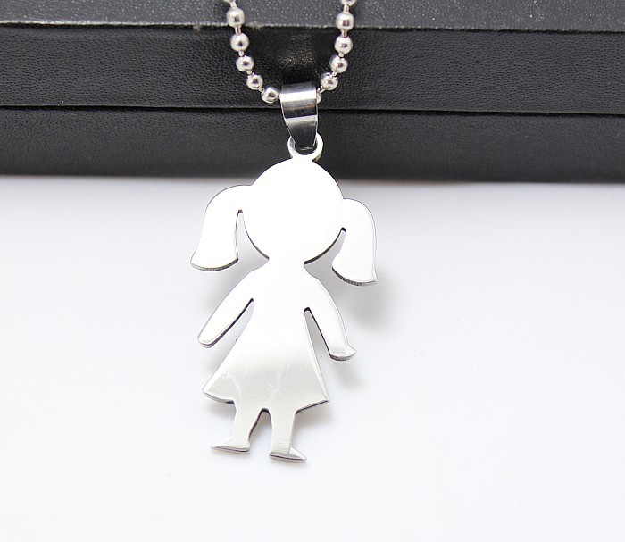 aliexpress polished boy girl pendant high com necklace steel w from figure charm in on little chain necklaces jewelry item accessories stainless