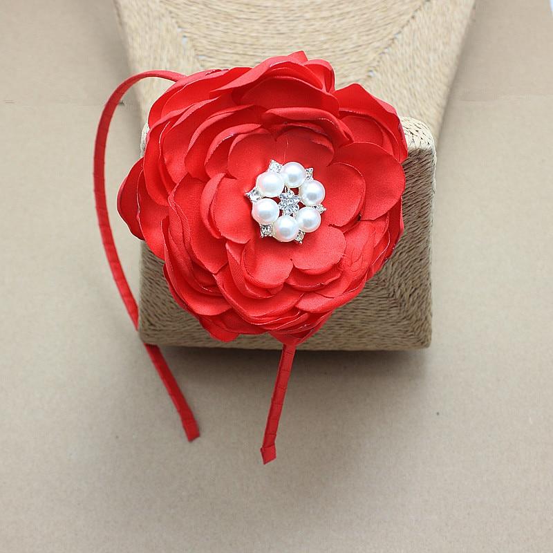 saten e kuq Lule brez dhe shirita kokrrizë me dasmën e perlave - Aksesorë veshjesh - Foto 3