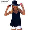 Z&KOZE Women New Sexy Chiffon Strap Tank Tops Summer Backless Shirt Vest Camis Solid Color Hollow Out Cage Vest Tank Tops
