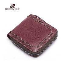 Difenise famous brand Luxury Cow Leather women mini Wallets Fashion Vintage zipper close Handmade style womens Wallet and Purese