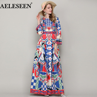 Pluse Size Vintage Runway 2018 Spring Summer Dress Fashion New Geometric Printed Beaded A Line Maxi