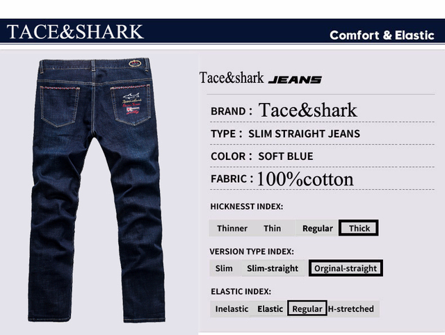 New product winter Thick fabric men's jeans fashion casual Tace&shark Brand jeans men jeans high quality denim jeans plus size